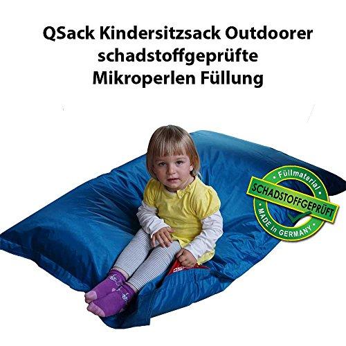 QSack Outdoorer Kindersitzsack, mit Innenhülle und Toxproof Mikroperlen, schadstoffgeprüft, 100x140 cm (blau)