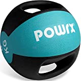 POWRX Balón Medicinal con Asas 8 kg - Ideal para Ejercicios de »Functional Fitness«, fortalecimiento Muscular y rehabilitación + PDF Workout (Turquesa)