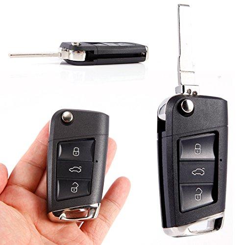 Coque de clé de Voiture Pliable à 3 Boutons Remplacement Plastique Noir pour VW Polo Golf Coque de clé de Voiture Pliable à 3 Boutons Remplacement Plastique Noir pour VW Polo Golf