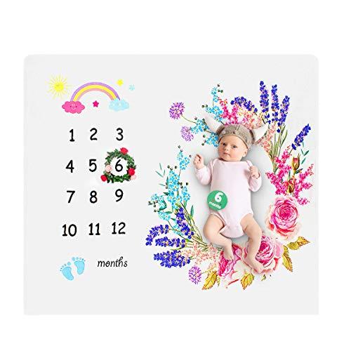 Coperta Milestone Neonato, ANSUG Coperta Bambino Mesi Mensile Flanella Fotografia di Sfondo Prop Foto Adesivi mensili e Corona per Neonato Ragazzi Ragazze Baby Shower