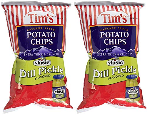 Tim's Cascade Style Potato Chips, Vlasic Dill Pickle, 7.5 Ounce