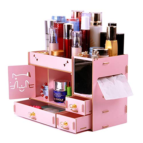 ANDER Makeup Organizer Wooden Dresser Organizer Lipstick Organizers and Storage with Mirror Makeup Storage Drawers Built-in Mirror Ring Earring Necklace Organizer Storage Case Pink