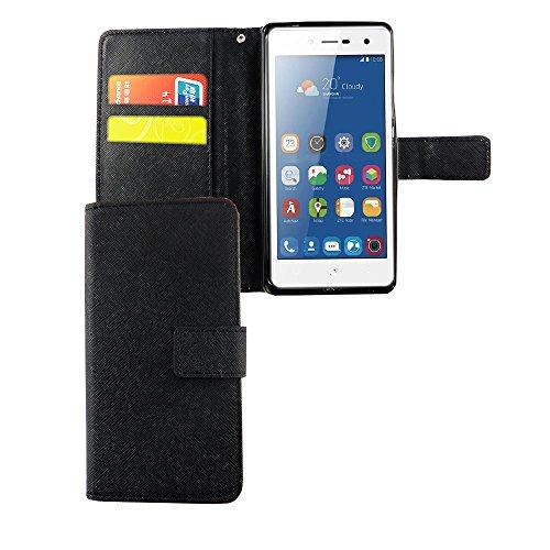 König Design Handyhülle Kompatibel mit ZTE Blade L7 Handytasche Schutzhülle Tasche Flip Hülle mit Kreditkartenfächern - Onyx Schwarz