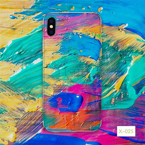 SCBJBZ Pegatinas de Pintura al óleo en el teléfono para iPhone 6 6s 7 8 7 Plus Pieles Adhesivas para iPhone X XS XS MAX XR 5S SE Graffiti contraportada para iPhone 8Plus X-025