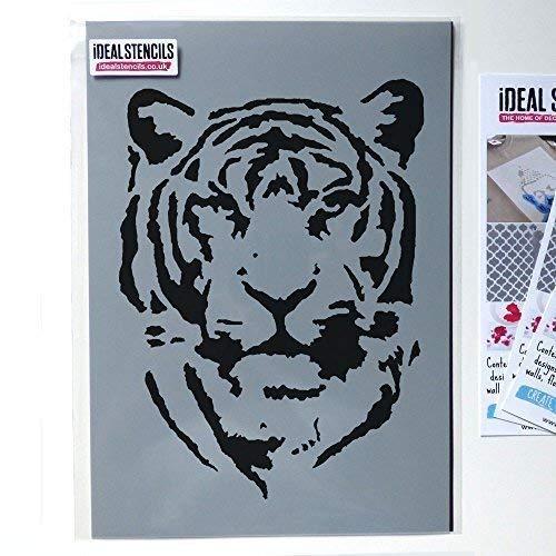 Tiger-Gesicht Schablone | Heim Wand Dekoration & Handwerk Schablone | Farbe Tiger On Walls Stoffe & Möbel | 190 Mylar Wiederverwendbare Schablone - halb geschliffen Durchsichtig Schablone, S/17X22CM