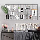 Pulatree Grid Photo Wall, Wire Wall Grid Panel for Photo Hanging Display Metal Grid Wall Decor Organizer Mesh Panels Display Wall Storage 37.4 x 17.7 inch - Black