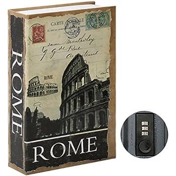 Stash Safe Jssmst Diversion Book Safe with Combination Lock, Secrect Hidden Safe Lock Box Large, SMBS020 Rome