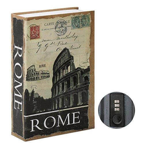 Jssmst Umlenktresor Büchertresor mit Zahlenschloss, Geheimverstecktes Schloss Box groß 2018 SMBS019, SM-BS020 RomE, Antikes Rom, Large