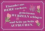 Generisch Cartel de chapa con texto en alemán 'Seite an Seite aufblüfen', 20 x 30 cm