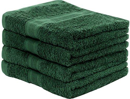 leevitex Frottier Handtücher Set 4er-Pack | 50 x 100 cm | Qualität 500 g/m² | 100{21c7f85ad3f1460d57b7685c30ec5cdf369f9d23e1fe7e57fe3eb26c46512a85} Baumwolle | Dunkelgrün/Tannengrün