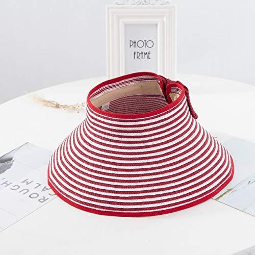 Nuove visiere estive da donna Cappello Cappello da sole pieghevole Cappello da spiaggia a tesa larga Cappello di paglia Chapeau femme Cappello di protezione UV da spiaggia-a68