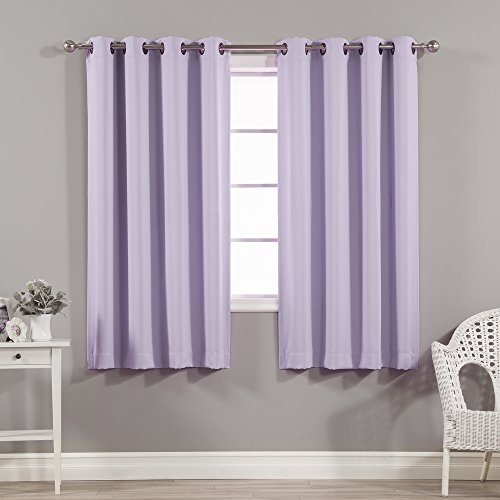 Best Home Fashion Thermal Insulated Blackout Curtains - Antique Bronze Grommet Top - Lavender- 52' W x 63' L - (Set of 2 Panels)