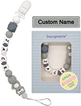 Personalized Pacifier Clip with Name Baby Teething Toys Custom Name Pacifier Holder BPA Free Silicone Beads Binky Holder for Boy Girl, Soothie,Mam, Shower Gift Raccoon (Grey)