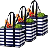 WiseLife 3 Pack Reusable Grocery Bags Large Shopping Bags, Water Resistant Grocery Tote Bag Collapsible Heavy Duty Tote Bags for Shopping Picnic