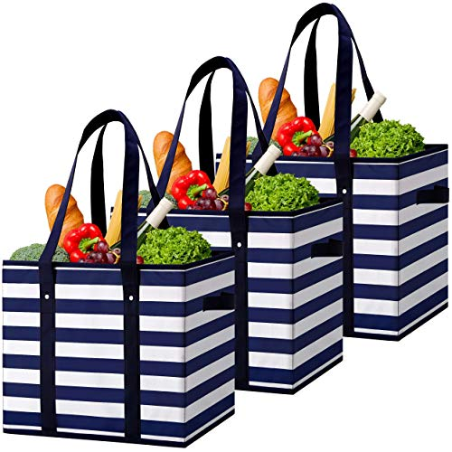 WiseLife Reusable Grocery Bags Boxes Storage Basket[3 Pack],Water Resistant Durable Shopping Bags Boxes, Collapsible Utility Tote Bags w/Long Handle