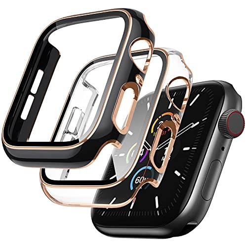 SUNFWR 2 custodie protettive compatibili con Apple Watch 44 mm Series 6/5/4/3 SE, custodia con protezione antigraffio in vetro HD, copertura completa ultra sottile per iWatch 44 mm, nero trasparente