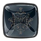 Tiradores cuadrados para armarios con superficie de cristal y tornillos estilo europeo contemporáneo, 4 unidades, diseño de mandala floral oscuro