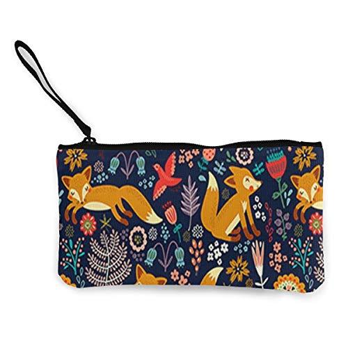 Monedero de lona para mujeres y niñas, diseño de zorro floral con cremallera y correa