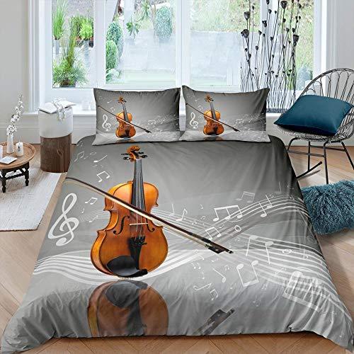 dsgsd Funda nórdica Gris violín Notas Musicales Rey: 220x220cm Juego de Cama Moderno Sábana Plana Funda nórdica Funda de Almohada Ropa de Cama Lateral Textiles para el hogar