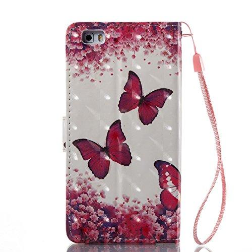 ZCRO Handytasche für Huawei P8 Lite 2015/2016, Leder Schutzhülle Brieftasche Hülle Flip Case 3D Muster Cover mit Kartenfach Magnet Tasche Handyhüllen für Huawei P8 Lite 2015/2016(Schmetterling Blume) - 5