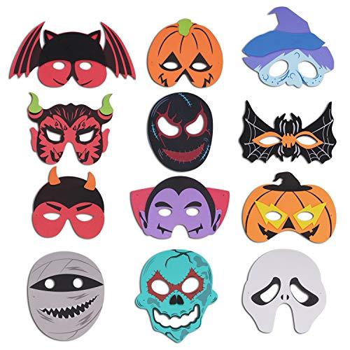 DERAYEE 12 Pieces Halloween Foam Masks Eva Cartoon Masks for Kids Halloween Masquerade Party Favors