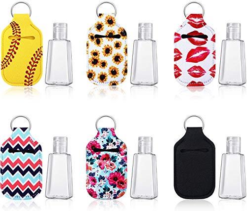 Queta 6 Piezas 30ml Botellas Vacías de Viaje Plástico, con Tapa Abatible y 6 Piezas Titular de Llavero, Porta Llaveros Soporte de Neopreno Impermeable Elástico para Contenedor Viaje