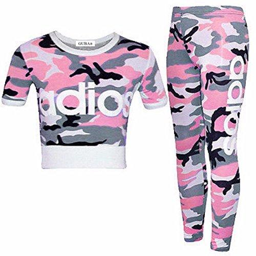 Guba® New Adios Athletic Ensemble 2 pièces avec leggings et haut court pour fille Motif Camouflage 7-13 ans - - 13 ans