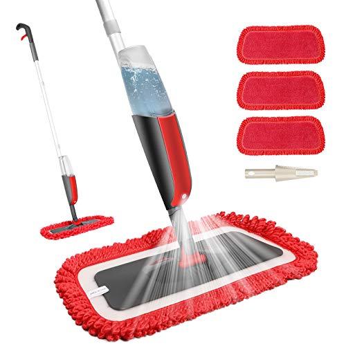 Fixget Wischmopp, Bodenwischer mit Sprühfunktion Spray Mop mit 300ml Wassertank Wischer Mopps für Boden Reinigung Sprühwischer und 3-Mikrofaserbezug