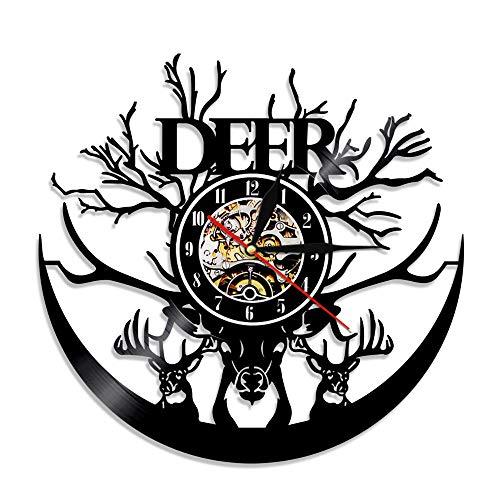 BBZZL Ciervos Disco de Vinilo Reloj de Pared Cabeza de Ciervo decoración del hogar Cuernos de Animales Caza Reloj de Pared Silueta Tiempo Reloj Cazador Regalo Sin LED