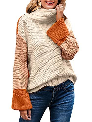 BerryGo - Maglione da donna a maniche lunghe, stile casual, a collo alto, lavorato a...