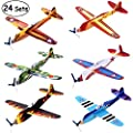 "iBaseToy 24 Pack Flying Glider Plane - 8"" Foam Toy Airplanes in 6 Different Designs, Kids Birthday Party Favors, School Classroom Prizes, Carnival Prizes, Treasure Box for Boys Girls by iBaseToy"