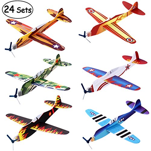 iBaseToy 24 Pack Flying Glider Plane - 8' Foam Airplane Toys in 6 Different Designs, Kids Valentines Airplanes, Valentines Day Party Favors, Birthday Party Favors, Carnival Prizes for Boys Girls