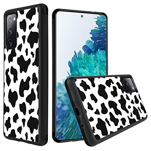 KANGHAR Samsung Galaxy S20 FE Case Tire Cow Black White Slim Anti-Scratch Shockproof Skid Outline Durable PC Layer TPU Bumper Anti-Dropping Full Body Protection Cover -6.5 Inch