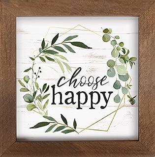 P. Graham Dunn Choose Happy Greenery Wreath 7 x 7 Inch Pine Wood Framed Wall Art Plaque