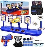 Fibevon Electronic Shooting Target for Nerf Gun, Kids Practice Targets Kit w/Blaster, Vest, Glasses, Bandanas, Wristbands and Foam Darts, Ideal Toy Gift for Boys, Girls Aged 5-13 (Target Kit)