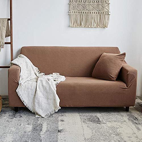 DANNEIL Fundas Sofa Elasticas,Funda De Sofá De Cuero Elástico Universal En Color Liso 123 Combinación De Funda De Sofá Universal Antideslizante, Decoración De Su Sofá-Camel_90-125cm