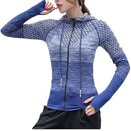 U/A traje de yoga degradado se refiere a una chaqueta con capucha con cierre de cordón Azul azul L