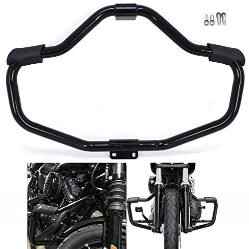 HTTMT- Front Engine Guard Highway Crash Bar Compatible with H-D Sportster 883 1200 XL XR 48 72 04-20 Glossy Black [P/N: MT504-002-GBK]