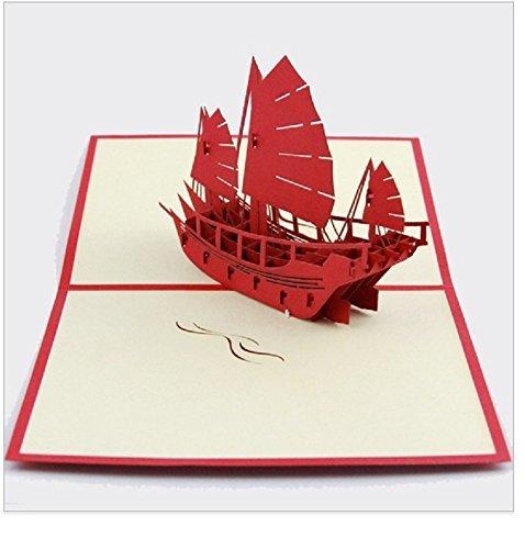 BC Worldwide Ltd Handgemachter Origami 3D Pop-up-Karte Geburtstagskarte Valentinstag Karte Vatertag Karte Grusskarte Schlachtschiff Kriegsschiff Schiff mittelalterlichen alten Piratenschiff Schiff Yacht