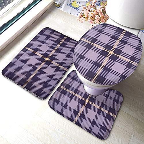 Juego de alfombras de baño RedBeans antideslizantes de 3 piezas de franela para baño, tela de cuadros de tartán, color morado, suave y antideslizante