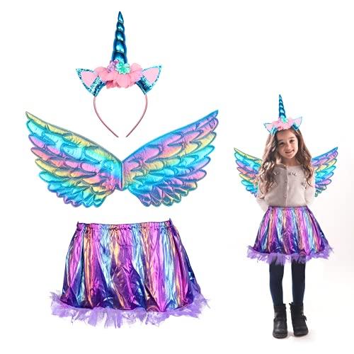 3 piezas Disfraz de Unicornio para Nia JOOPOM Vestido de Unicornio para Nia Alas de Angel Diademas de Unicornio Artculos de Cumpleaos Cosplay Carnaval (Azul)