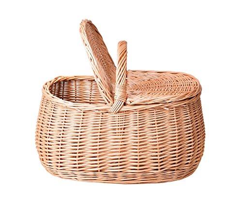 Dkaren Handgeflochtener Weidekorb Picknickkorb mit Klappdeckel Wk009