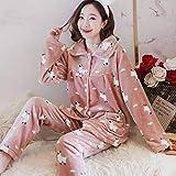ZHRDRJB Conjunto De Pijamas para Mujeres,Invierno Rosa Alpaca Coral Polar Pajamas Set Thicken Warm Soft Flannel Homewear Ropa De Dormir De Manga Larga Cárdigan Más Tamaño Pyjamas Sets Women,XXL