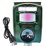 Animal Deterrent Device Solar Powered with Motion Sensor LED Lights and Alarm - Animal Repellent Ultrasonic Outdoor...