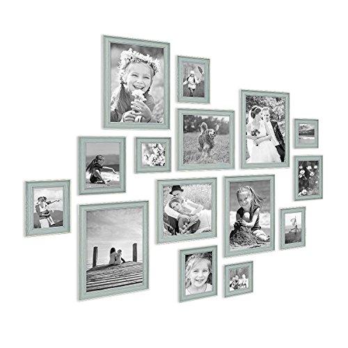 PHOTOLINI 15er Set Bilderrahmen Skandinavischer Landhaus-Stil Petrol/Taubenblau 10x15 bis 20x30 cm inklusive Zubehör/Fotorahmen/Wechselrahmen
