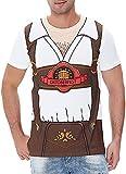 COSAVOROCK Disfraz de Bávaro Alemán Oktoberfest para Hombre Camiseta de Lederhose (3XL, Marrón)