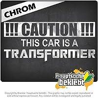 この車はトランスフォーマーです This Car is a Transformer 20cm x 9cm 15色 - ネオン+クロム! ステッカービニールオートバイ
