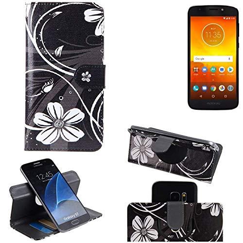 K-S-Trade® Schutzhülle Für Motorola Moto E5 Dual SIM Hülle 360° Wallet Case Schutz Hülle ''Flowers'' Smartphone Flip Cover Flipstyle Tasche Handyhülle Schwarz-weiß 1x