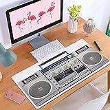 Alfombrilla de ratón para Juegos 1920S Altavoz Que Escucha Radio Plateada Boom Box Tecnología de Cassette DJ Cinta Vintage Estéreo Retro Blanco, Antideslizante Adecuada para Jugadores.