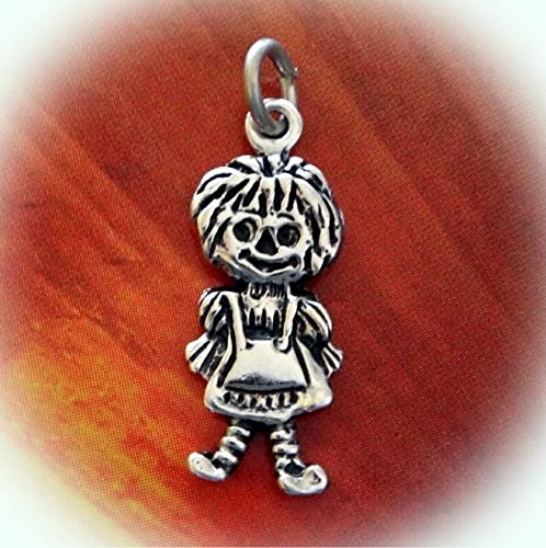 Sterling Silver 20x7mm Small Raggedy Ann Rag Doll Charm Flat Double Sided Vintage Crafting Pendant Jewelry Making Supplies - DIY for Necklace Bracelet Accessories by CharmingSS
